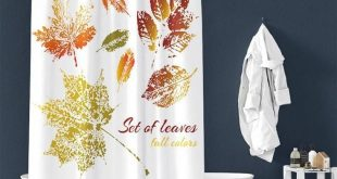 Maple Leaves Pattern Pongee Shower Curtain – TYChome diy shower curtain, farmh...