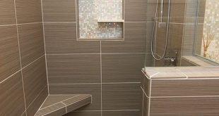Modern Master Bathroom with Italia zen gris 12 in. x 24 in. porcelain floor and ...