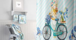 Farm Market Shower Curtain, Blue floral , Farmhouse Chic, Bath Mat and Towels Option