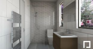 Hexagonal shower tiles are an attention grabbing feature of this new bathroom de...