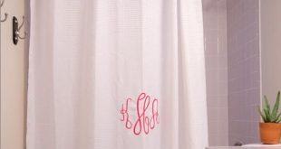 Monogram Fabric Shower Curtain, Personalized Bath Curtain, Spa Bathroom Decor, Farmhouse Shower Curt