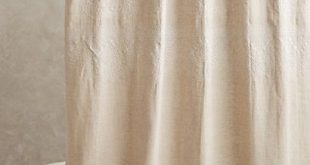 Embroidered Linen Shower Curtain #anthropologie