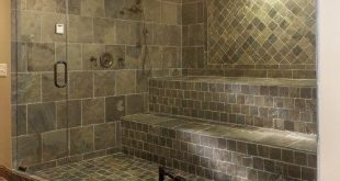 Nice in-home spa shower, giant walk-in shower with bench seating