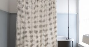 Petite Croix Shower Curtain in French Grey