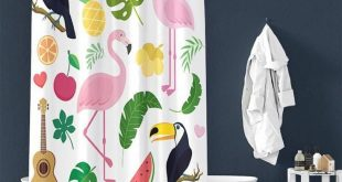 Flamingo Leaves Pattern Pongee Shower Curtain Interior – TYChomediy shower cur...