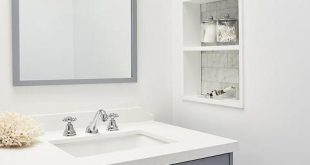 Bathroom Niche Shelves with Marble Tiles - Transitional - Bathroom