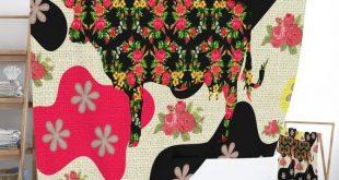 Boho Farmhouse Shower Curtain, Floral Funky Cow