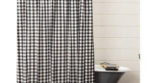 Caulder Buffalo Check Ruffled 100% Cotton Single Shower Curtain