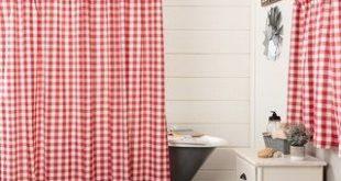 Farmhouse Bath VHC Annie Buffalo Check Shower Curtain Rod Pocket Cotton Buffalo Check (Antique Creme/Country Red), Antique Creme / Country Red, VHC