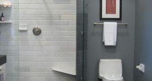 Grey paint, white metro tiles, grey floor tiles ...