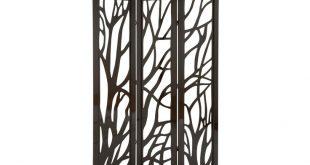Panel Dark Brown Tree Floor Screen