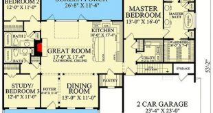 Plan 32664WP: One-Level Cottage with Split Beds This one-level, cottage design p...