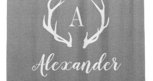 Rustic Gray Antler Monogram | Farmhouse Bathroom Shower Curtain | Zazzle.com