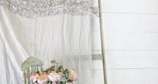 Six Ruffle Linen Shower Curtain Linen Bathroom Curtain Shower Curtain Stall Size...