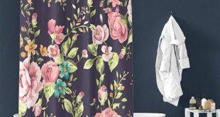 Vintage Rose Pattern Pongee Shower Curtain Interior – TYChomediy shower curtai...